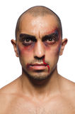 Der schlecht geschlagene Mann lokalisiert auf Weiß Lizenzfreie Stockbilder