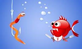 Der schlechte rote Fisch der Karikatur, der einen Wurm auf einem Fischereihaken betrachtet und möchte ihn essen Lizenzfreie Stockbilder