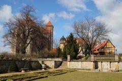 Der Schlossberg in Quedlinburg stockbilder