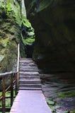 Der schmale Weg unter hoher Felsen Adrspach-Felsen-Stadt Lizenzfreies Stockbild