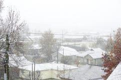 Der Schnee bedeckte Stadt Stockbilder