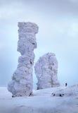 Der Schnee-gehende Wald ist in den Bergen von Nord-Ural stockfotografie
