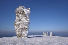 Der Schnee-gehende Wald ist in den Bergen von Nord-Ural lizenzfreies stockbild