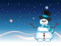 Der Schneemann, der einen Hut und einen blauen Schal wellenartig bewegen seine Hand mit Stern-, Himmel- und Schneehügelhintergrun Stockfoto