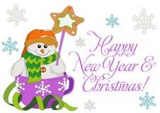 Der Schneemann des neuen Jahres in einer Schale Guten Rutsch ins Neue Jahr und frohe Weihnachten! lizenzfreie stockbilder