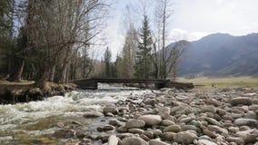 Der schnelle wilde Fluss mit Holzbrücke läuft das helle Gebirgstal durch stock footage