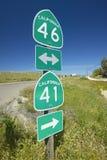 Der Schnitt von Staat California-Landstraßen 46 und 41, der Schnitt, wo Schauspieler James Dean in einem Autounfall in den 195 st Stockbild