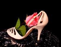 Der Schuh der Frau und stieg Lizenzfreies Stockfoto