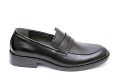 Der Schuh der schwarzen ledernen Männer Stockfotos