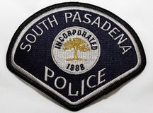 Der Schulterflecken der Süd-Pasadena-Polizeidienststelle in Kalifornien stockbilder