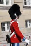 Der Schutz der Ehre in roter Galla-Uniform den königlichen Wohnsitz Amalienborg-Palast in Kopenhagen, Dänemark schützend Kopenhag stockbild