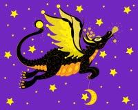 Der schwarze Drache überträgt den Mond lizenzfreie stockbilder