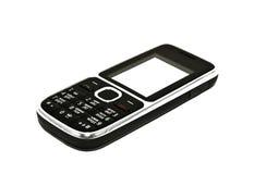 Der schwarze Handy auf einem weißen Hintergrund Stockfotografie