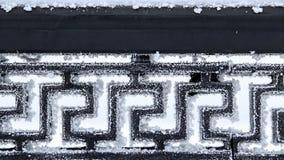Der schwarze Metallzaun, bedeckt mit Eiskristallen Lizenzfreie Stockfotos