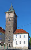 Der schwarze Turm in Plzen, Tschechische Republik stockfotografie