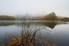 Der See im Nebel szenisch lizenzfreies stockfoto