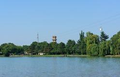 Der See und die Drahtseilbahn stockfoto
