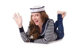 Der Seemann der jungen Frau lokalisiert auf Weiß Lizenzfreies Stockbild