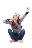 Der Seemann der jungen Frau lokalisiert auf Weiß Lizenzfreie Stockfotos