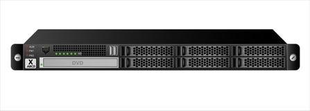 Der Server 1u für die Befestigung in ein 19-Zoll-Gestell mit sechs 2 Festplattenlaufwerke von 5 Zoll und ein optisches Laufwerk vektor abbildung