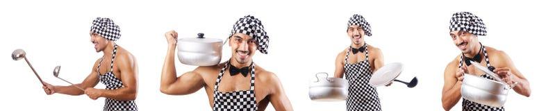 Der sexy männliche Koch lokalisiert auf dem Weiß Stockfotografie