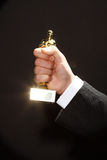 Oscar-Preis in der Hand Lizenzfreies Stockbild