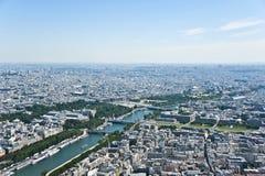 Der Siene Fluss in Paris von oben Lizenzfreie Stockfotografie