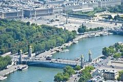 Der Siene Fluss in Paris von oben Lizenzfreies Stockbild