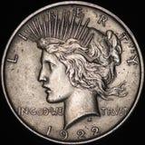 Der Silber-Friedensdollar Vereinigter Staaten (Gegenstücck) Stockbild
