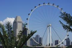 Der Singapur-Flieger und die moderne Architektur Stockbild