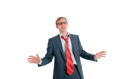 Der singenmann der Geschäftsmann stockfoto