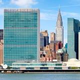 Der Sitz der Vereinter Nationen, der in Midtown Manhattan errichtet stockfotos