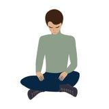 Der sitzende Kopf des jungen Mannes beugte Yogaentspannungsmeditation lokalisiert auf kreativer Vektorillustration der weißen Hin Stockfotos