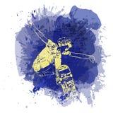 Der Skateboardfahrer springend auf Farbenstelle mit Spritzen im Watercolourarthintergrund Rochen- und Skateboardikone Extremes Th Stockfotografie