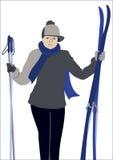 der Skifahrer in Lizenzfreie Stockfotos
