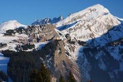 Der Skiort von Avoriaz in den französischen Alpen Stockbild
