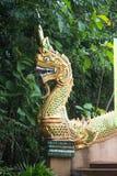 Der Skulpturkönig der Nagas des Dekors normalerweise an der Treppe öffentlich Lizenzfreie Stockbilder
