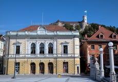 Der Slowene philharmonisch auf Kongress-Quadrat. Lizenzfreie Stockfotografie