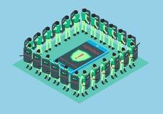 Der Smartphone wird durch Antivirus geschützt lizenzfreie abbildung