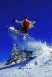 Der Snowboarder springend über den Baum Lizenzfreie Stockbilder