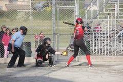 Der Softball-Spiel der kanadischen Frauen Stockfotografie