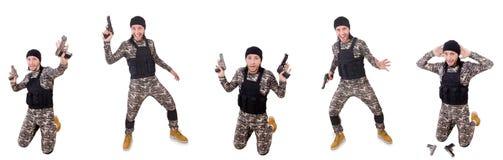 Der Soldat mit dem Gewehr lokalisiert auf Weiß Stockfotos