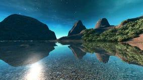 Der Sommerhimmel, der in die transparente Oberfläche von einem See fällt