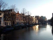 Der Sonnenaufgang in Amsterdam Stockbild