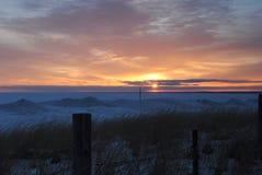 Der Sonnenaufgang des Winters Stockbild