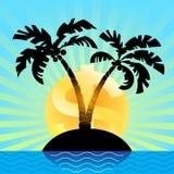 Der Sonnendollar steigt über eine küstennahe Insel Feder, Brillen und Diagramme Lizenzfreies Stockfoto