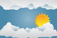 Der Sonnenglanz auf den Wolken Papierkunst Abbildung lizenzfreie abbildung