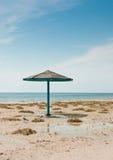 Der Sonnenschirm und zwei Seemöwen auf leerem sandigem Strand Stockfotografie