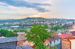 Der Sonnenuntergang über Tiflis Stockbild