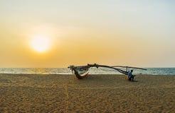 Der Sonnenuntergang auf Negombo-Strand Stockfoto